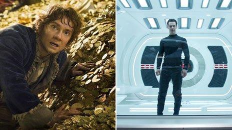 Martin Freeman as Bilbo Baggins and Benedict Cumberbatch as