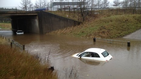 Flooding at Lesmahagow in South Lanarkshire