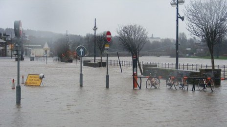 Flooding at the Whitesands in Dumfries