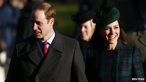 Prince William and the Duchess of Cambridge walk to a Christmas Day morning service at the church on the Sandringham Estate in Norfolk