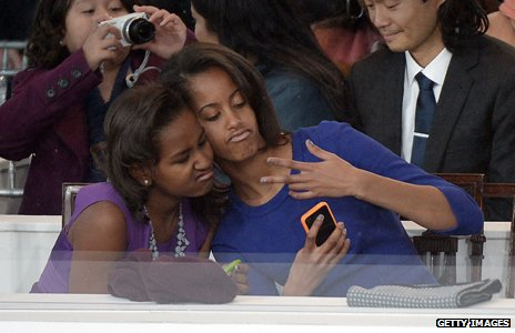Sasha and Malia Obama at Barack Obama's inauguration
