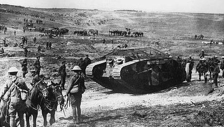 Mark I tank on the battlefield on 15th September 1916