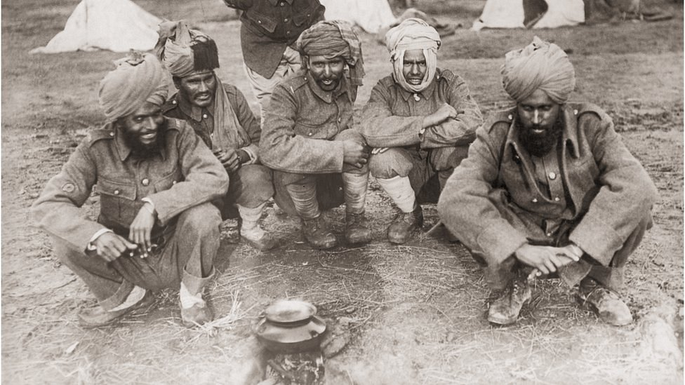 Indian soldiers serving with the British Army, at camp during World War One