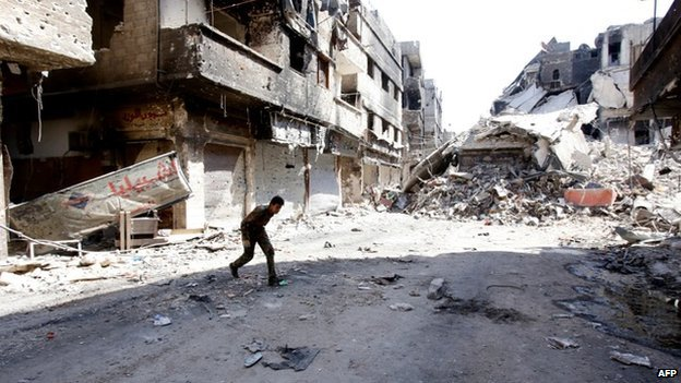 Rubble in Damascus street, Yarmouk