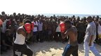 Boxers on the beach in Mogadishu, Somalia - Friday 25 January 2013