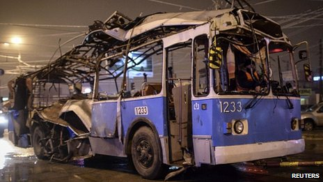 The bombed bus in Volgograd