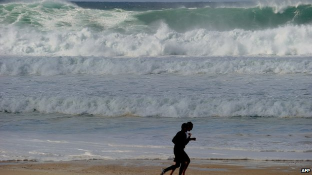 This file photo taken on 13 August 2010 shows large waves rolling into Sydney's famous Bondi Beach
