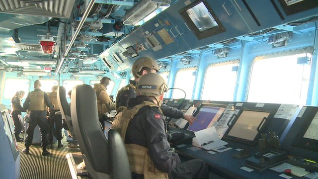 The bridge of the Norwegian frigate