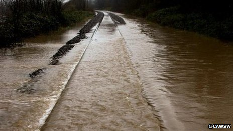 Railway line flooding between Cwmbach and Aberaman, near Aberdare