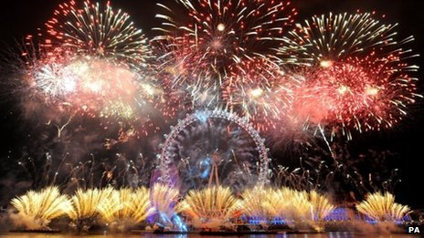 New Year's Eve firework display over River Thames