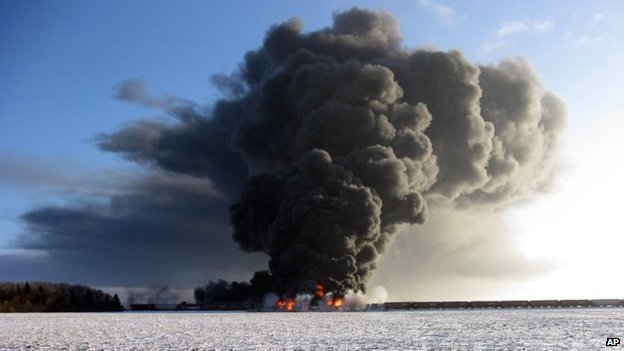 A train derailment and fire west of Casselton
