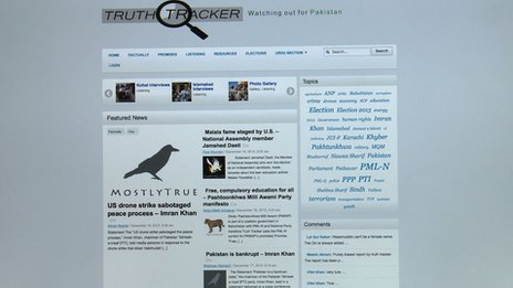 A computer screen displaying the truth tracker website