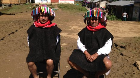 Acteal community leaders wear their traditional headdress