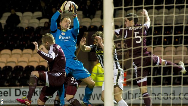 St Mirren goalkeeper Marian Kello in action against former club Hearts