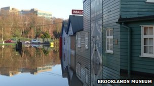 Floods at Brooklands Museum