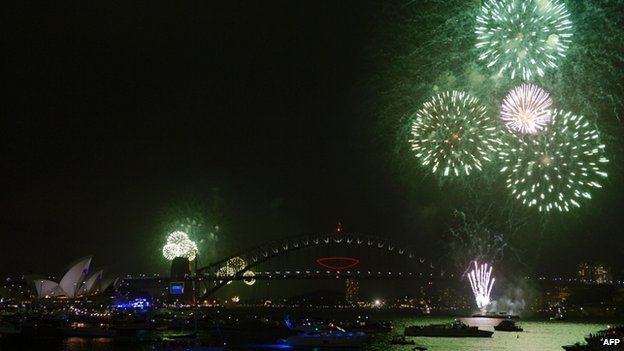 "Sydney started celebrations early with a ""family"" fireworks session at 21:00 local time"