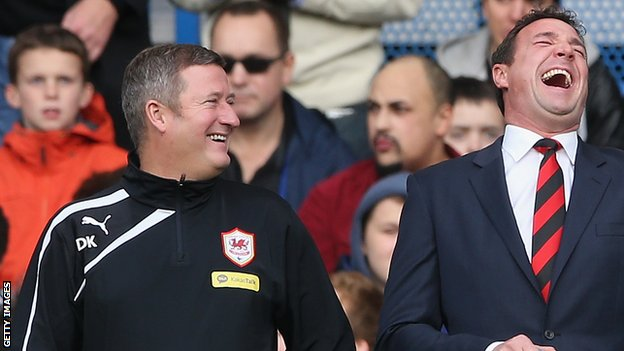 Cardiff City caretaker boss David Kerslake and former manager Malky Mackay
