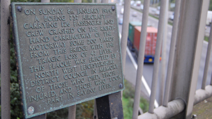 The plaque to the victims