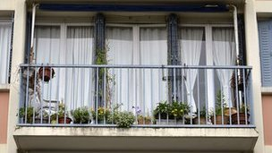 The balcony of the flat where the bodies of two children, aged five and 10, were discovered.