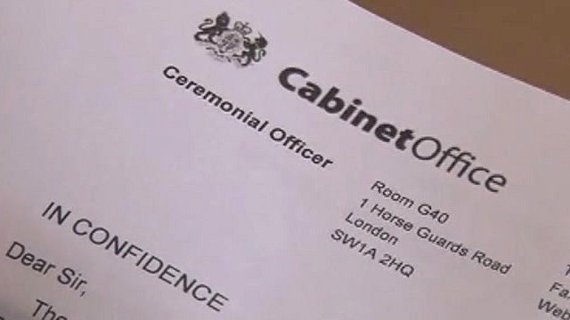 Cabinet Office New Year Honours letter