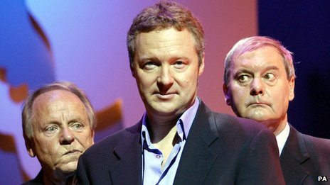 John Fortune (right) with John Bird and Rory Bremner