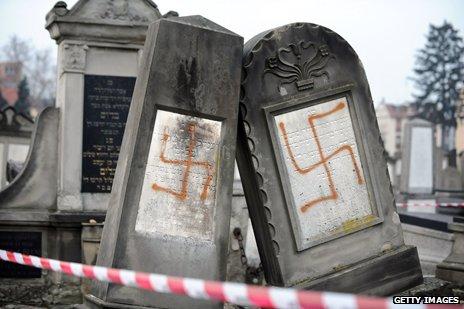 Swastikas daubed on Jewish gravestones, Strasbourg