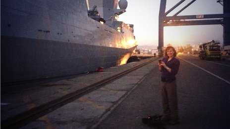 Anna Holligan gets ready to board the Norwegian frigate HNoMS Helge Ingstad, which will help in the international effort to destroy Syria's most dangerous chemical weapons