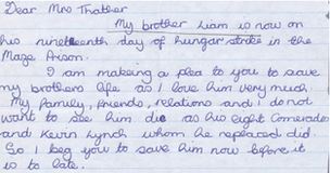Letter from hunger striker Liam McCloskey's sister Sharon
