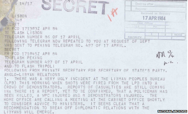 "A telegram to foreign secretary Sir Geoffrey Howe described the shooting of WPC Yvonne Fletcher as ""a very ugly incident"" and said the diplomats' request had been passed on to the Home Office and the police during the night, ""drawing attention to the fact that the Libyans were capable of carrying out their threats""."