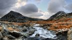 The River Idwal running towards Pen yr Ole Wen, in Snowdonia