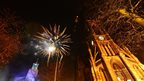 Fireworks over Newcastle Civic Centre