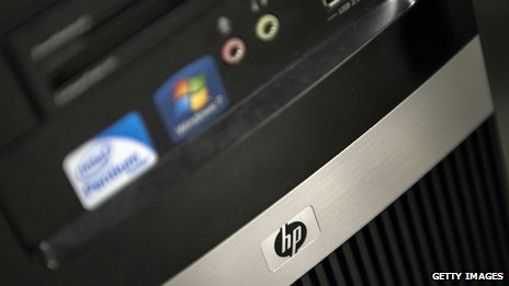 HP logo on computer