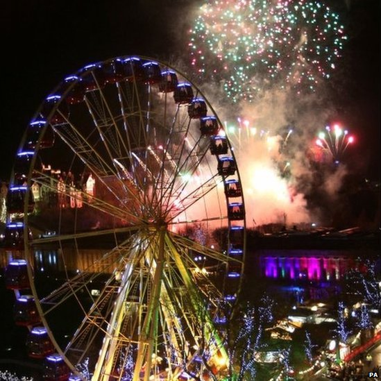 Fireworks over Edinburgh to celebrate the New Year's Eve Edinburgh Hogmanay street party, Scotland