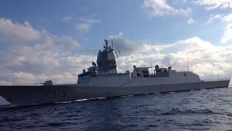 The Norwegian frigate HNoMS Helge Ingstad, which will help in the international effort to destroy Syria's most dangerous chemical weapons