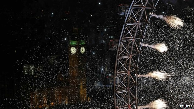 Fireworks on the London Eye, with Big Ben visible in the background