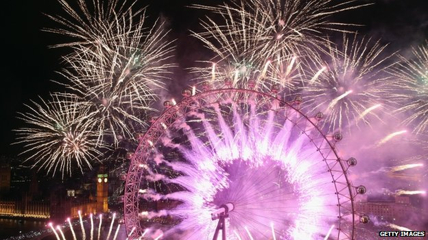 Fireworks bursting out from the London Eye