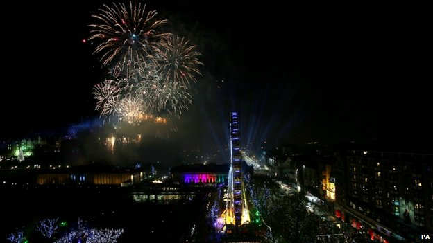 Fireworks over central Edinburgh