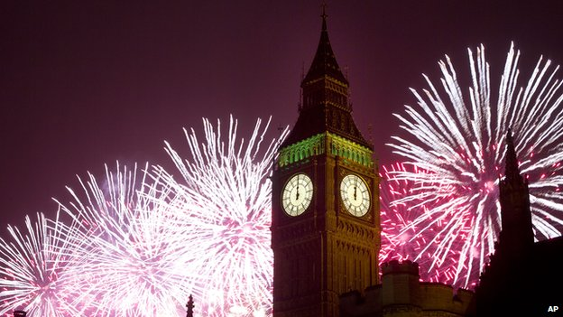 New year fireworks in London