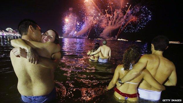 Firework display over Rio de Janeiro