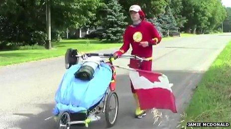 Jamie McDonald dressed as superhero