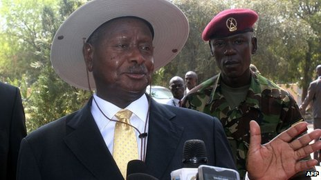 President Yoweri Museveni from Uganda in Juba, 30 December
