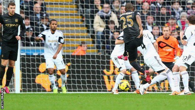 Fernandinho low strike puts Manchester City ahead against Swansea City.