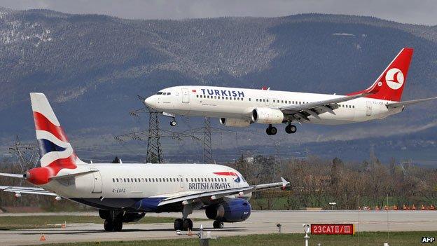 Turkish airline jet landing in Geneva