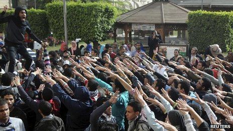 Cairo university students demonstrate in support of Muslim Brotherhood 29 Dec 2013
