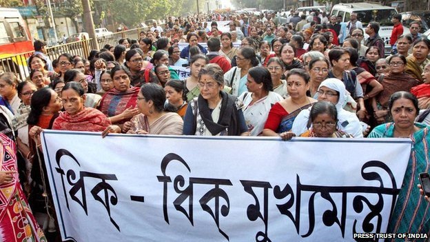 Protest in Calcutta on Wednesday 1 January 2014 against the gang rape and alleged murder of a teenager