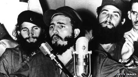 Cuban revolutionary Fidel Castro during an address in Cuba after Fulgencio Batista was forced to flee on 1 January 1959