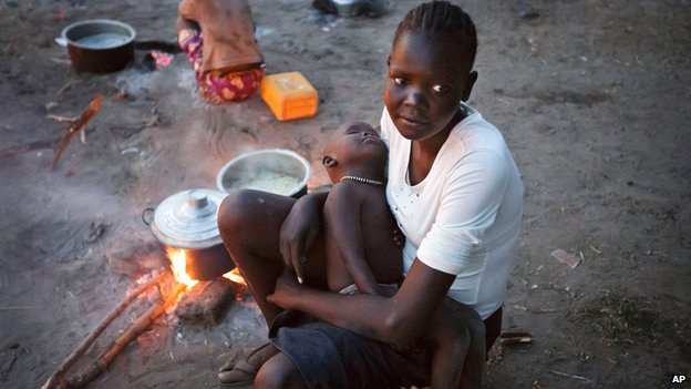 Displaced woman and baby in Awerial refugee camp, South Sudan, on 1 January 2014