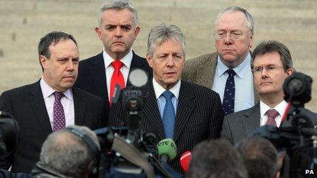 DUP talks team at Stormont last month
