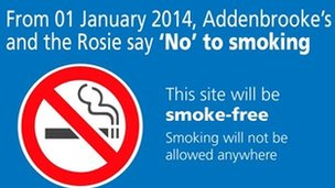 Smoking ban sign at Addenbrooke's Hospital