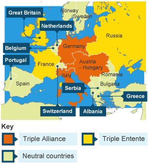 Bbc schools introductions map of triple alliance and triple entente gumiabroncs Images